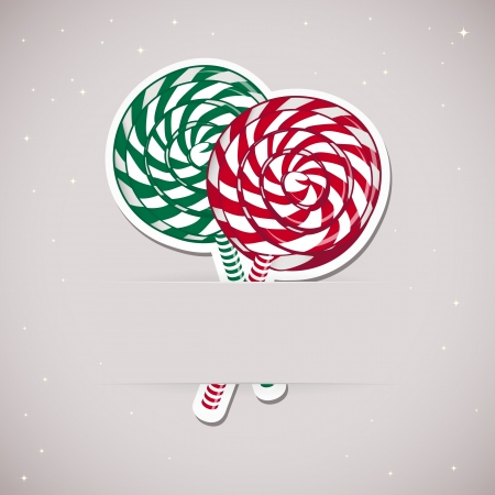lollypop: Background with candy inserted into a slot on the paper card. Vector illustration.