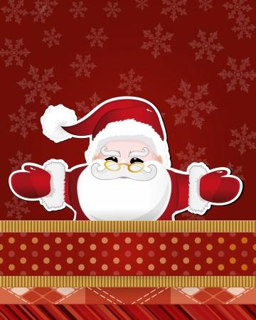 Christmas card with Santa Claus. Vector illustration.