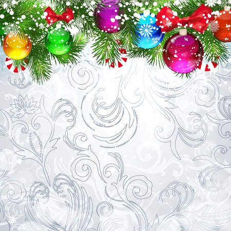 Christmas background with Christmas tree branches decorated with glass balls. Stock Vector - 17350041