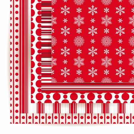 Abstract vector set of Christmas seamless backgrounds. Vector