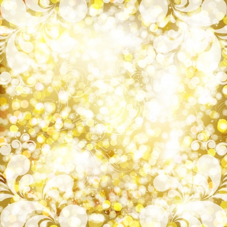 Abstract golden background with floral pattern. Vector