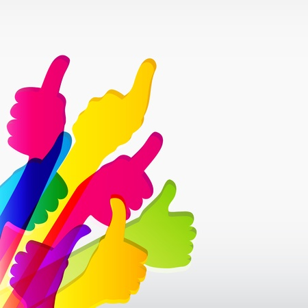 thumb: Like and Thumbs Up symbol. Abstract background.  Vector illustration.