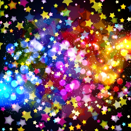 Bright colorful flying stars on a fantastic design background. Vector Illustration. Stock Vector - 17349948