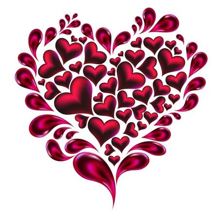 Hearts splash made of hearts and drops. Stock Vector - 17349943