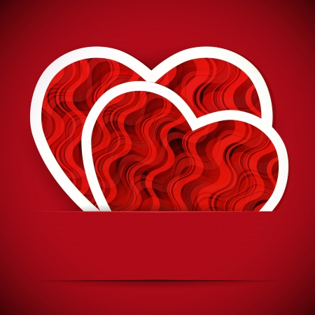 Two paper heartes postcard. Valentine's day vector background.  Vector