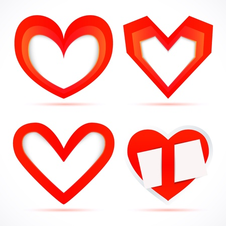 slot in: Paper stickers in the form of hearts. Vector frame and slot for cards.