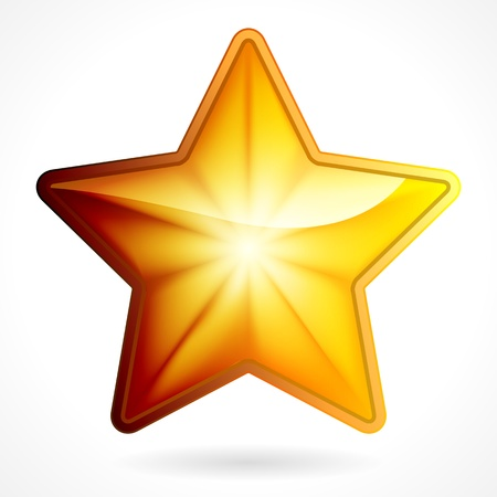 Golden star icon on white background, eps 10  Vector