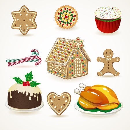 chicken roast: Conjunto de iconos de la Navidad sabrosos. Vector ilustraci�n. Vectores