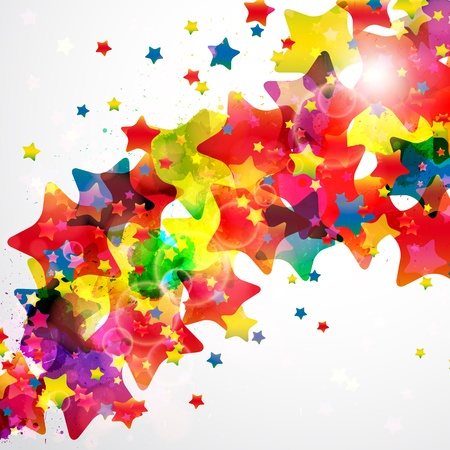 rainbow color star: Abstract background forming by watercolor paint splashes. Illustration
