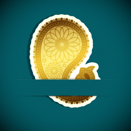 Paisley background. Design element inserted into a slot on the paper card.  Vector