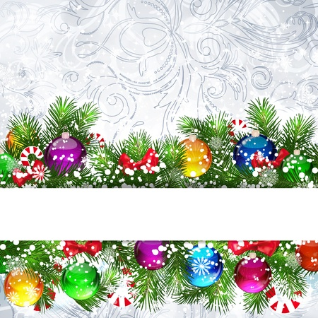 Christmas background with Christmas tree branches decorated with glass balls. Stock Vector - 17560458