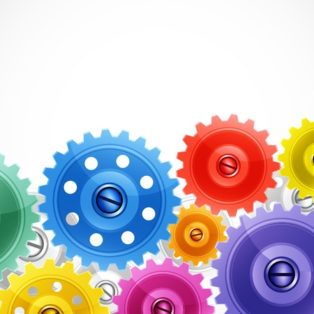 Techno background with colorful gears.  Illustration