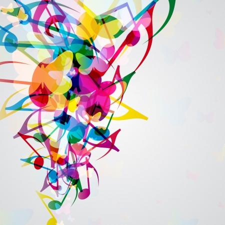 Kleurrijke muziek achtergrond met heldere muzikale design elementen.