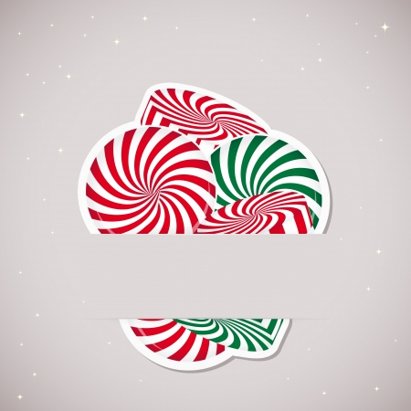 Background with candy inserted into a slot on the paper card. Vector illustration. Vector