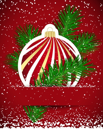 Christmas background. Wticker ball and tree branch inserted into a slot on the paper card. Vector illustration. Stock Vector - 17660337