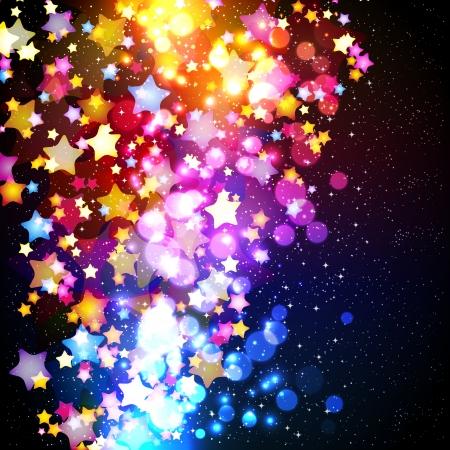 neon party: Luminose colorate stelle in volo su un disegno di sfondo fantastico. Illustrazione vettoriale.
