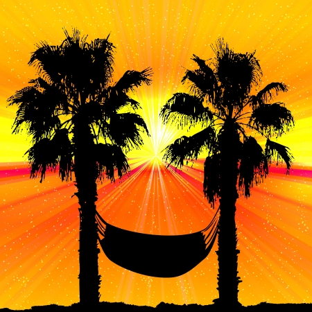 Palms and sunset on tropical background. Stock Vector - 17660162
