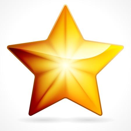 Golden star icon on white background, eps 10  Stock Vector - 17660087