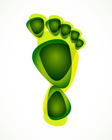and barefoot: abstract green foot print background Illustration