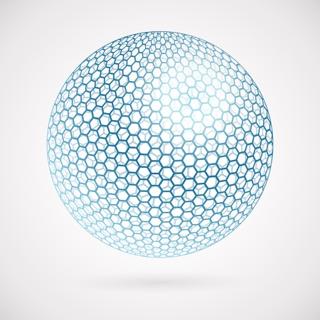 Abstract sphere of hexagons. vector background  Illustration