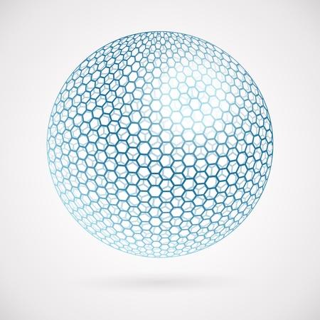 Abstracte bol van zeshoeken. vector achtergrond Stock Illustratie