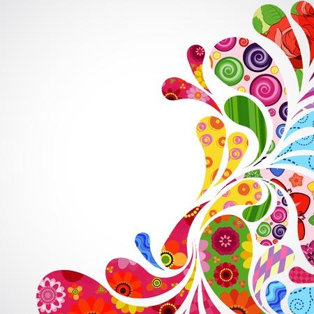 Bloemen en sier object achtergrond. Stock Illustratie