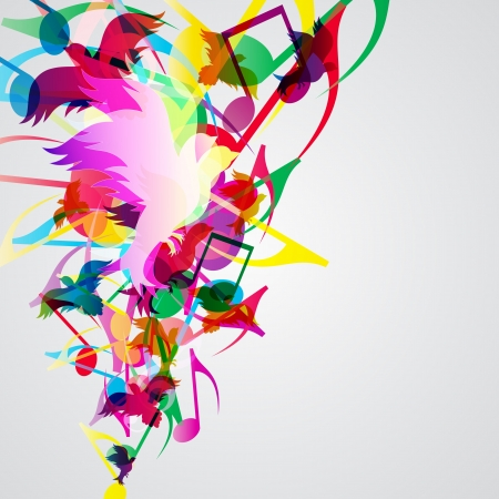 Colorful music background with bright musical design elements. Vector
