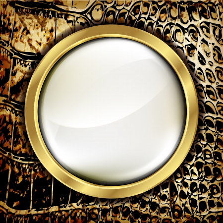 slither: Leather background with golden elements. Vector.