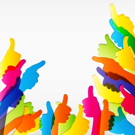 teamwork together: Come e Thumbs Up simbolo. Abstract background. Illustrazione vettoriale. Vettoriali