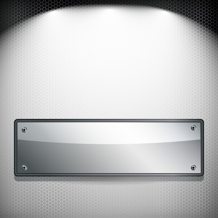 Abstract background. Metal banner on a grilled background. Vector