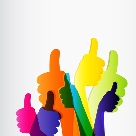 Willen en Thumbs Up symbool. Abstracte achtergrond. illustratie.