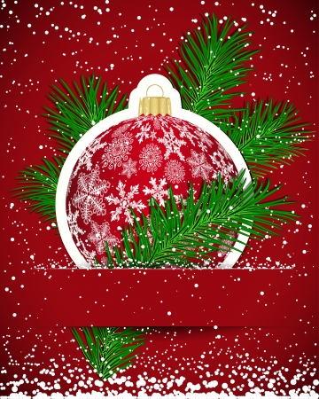 round shape: Christmas background. Wticker ball and tree branch inserted into a slot on the paper card.  illustration. Illustration