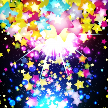 starfall: Bright colorful flying stars on a fantastic design background.  Illustration.
