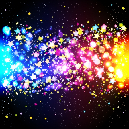 starfall: Bright colorful flying stars on a fantastic design background. Vector Illustration.