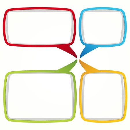 Colorful speech bubble frames. Labels in the form of an empty frame for your text. Vector