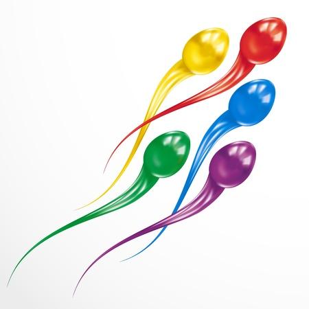 esperma: Ataque esperma. Concepto colorido aislado en el fondo blanco.