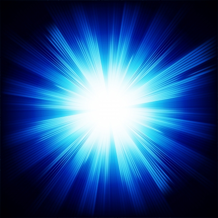 Blue color design background with a shining burst. Ilustracja