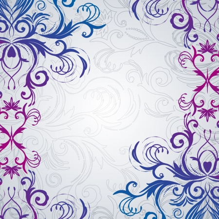 ornate swirls: Abstract floral background with east flowers.