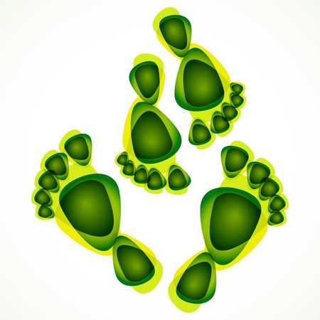 foot print: abstract green foot print background Illustration