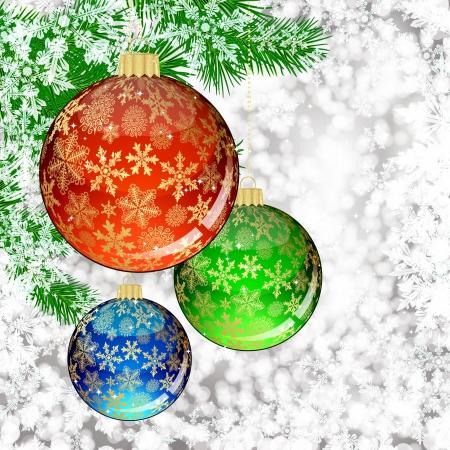 holiday celebrations: Background with Christmas balls.  illustration