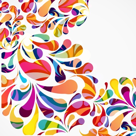 Rounded colorful arc drops. Decorative abstract background. Vector