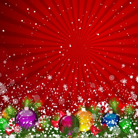 Christmas background with snow-covered Christmas tree decorated with glass balls Stock Vector - 21531144