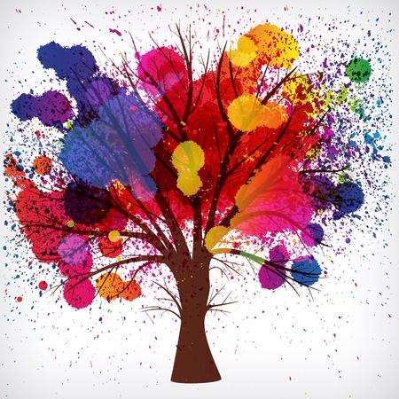 abstracte achtergrond, boom met takken gemaakt van aquarel druppels.