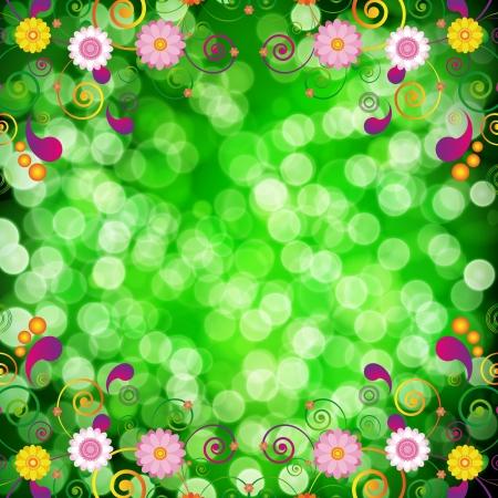 xmas decoration: Floral background with bokeh defocused lights. Illustration