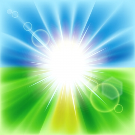Summer abstract background with sunbeams. Vector