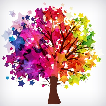 abstract background, tree with branches made of colorful stars. Ilustrace