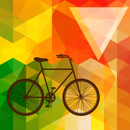 bike cover: Silhouette of an old bicycle on a colorful mosaic background made of triangle shapes