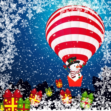 christmas gift box: Christmas background with Snowman.