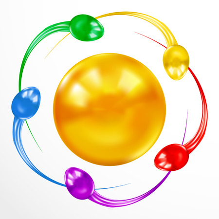 espermatozoides: Ataque Sperm concepto de colores aislados sobre fondo blanco