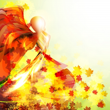 Silhouette of the woman dancing in the autumn leaves.  Autumn vector background. Vector